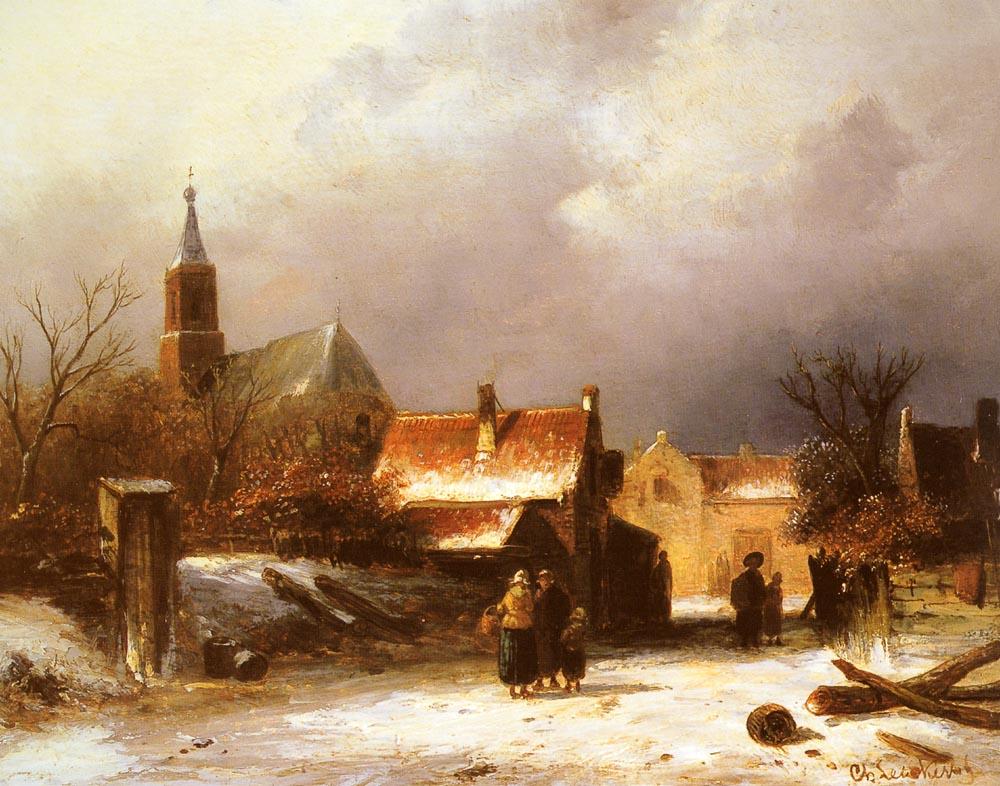 Figures On The Snow | Charles Henri Joseph Leickert | Oil Painting