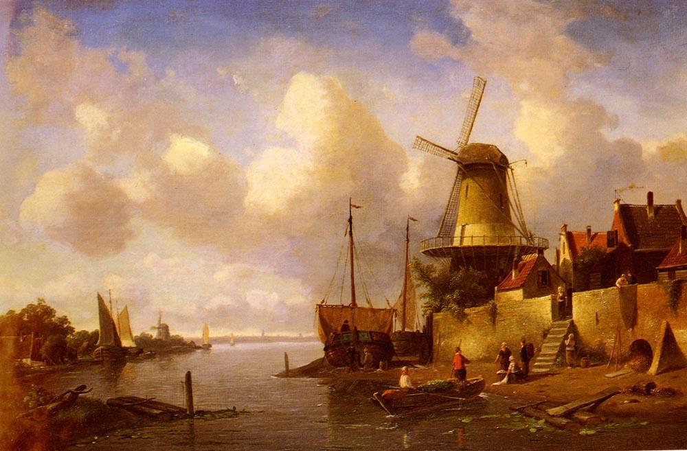 Winter And Summer Canal Scene (1) | Charles Henri Joseph Leickert | Oil Painting