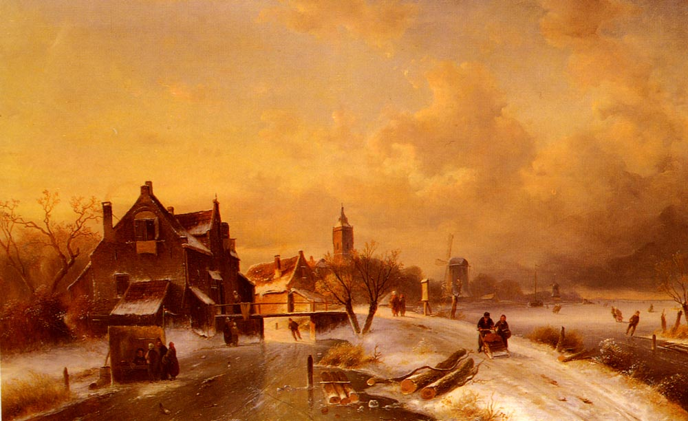 Winter And Summer Canal Scenes | Charles Henri Joseph Leickert | Oil Painting