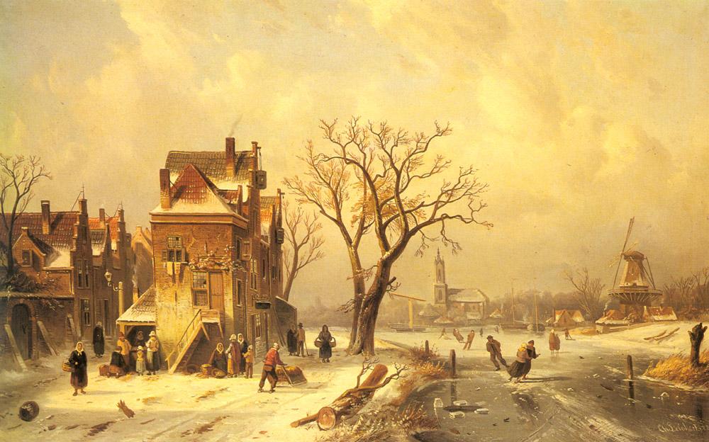 Skaters In A Frozen Winter Landscape | Charles Henri Joseph Leickert | Oil Painting