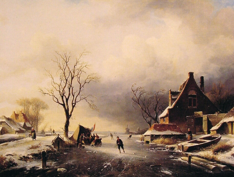 Winter Scene with Skaters | Charles Henri Joseph Leickert | Oil Painting