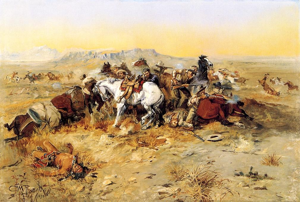 A Desperate Stand 1898 | Charles Marion Russell | Oil Painting