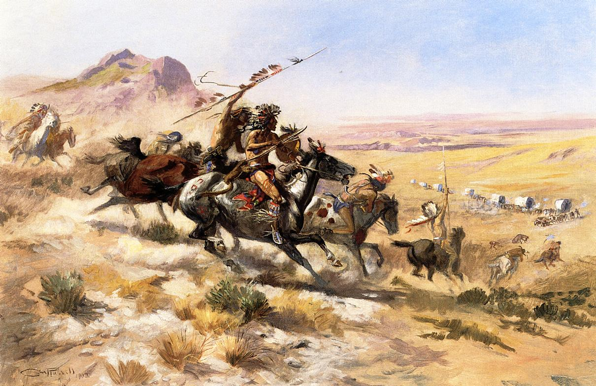 Attack on a Wagon Train 1902 | Charles Marion Russell | Oil Painting