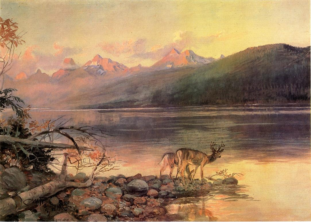 Deer at Lake McDonald 1908 | Charles Marion Russell | Oil Painting