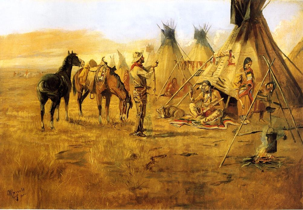 Cowboy Bargaining for an Indian Girl 1895 | Charles Marion Russell | Oil Painting