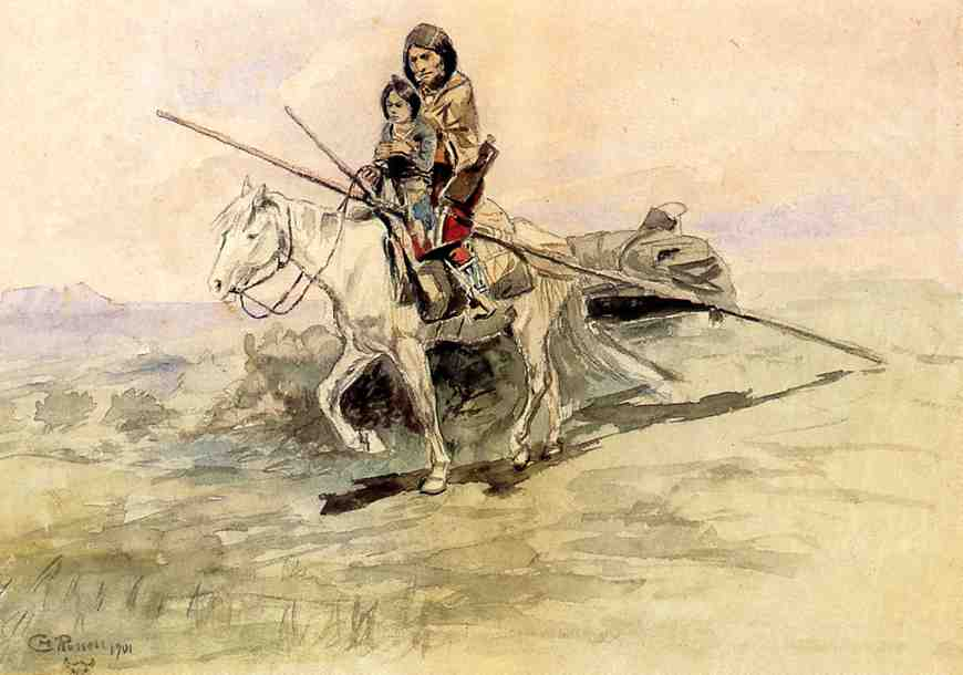 Indian on Horseback with a Child 1901 | Charles Marion Russell | Oil Painting