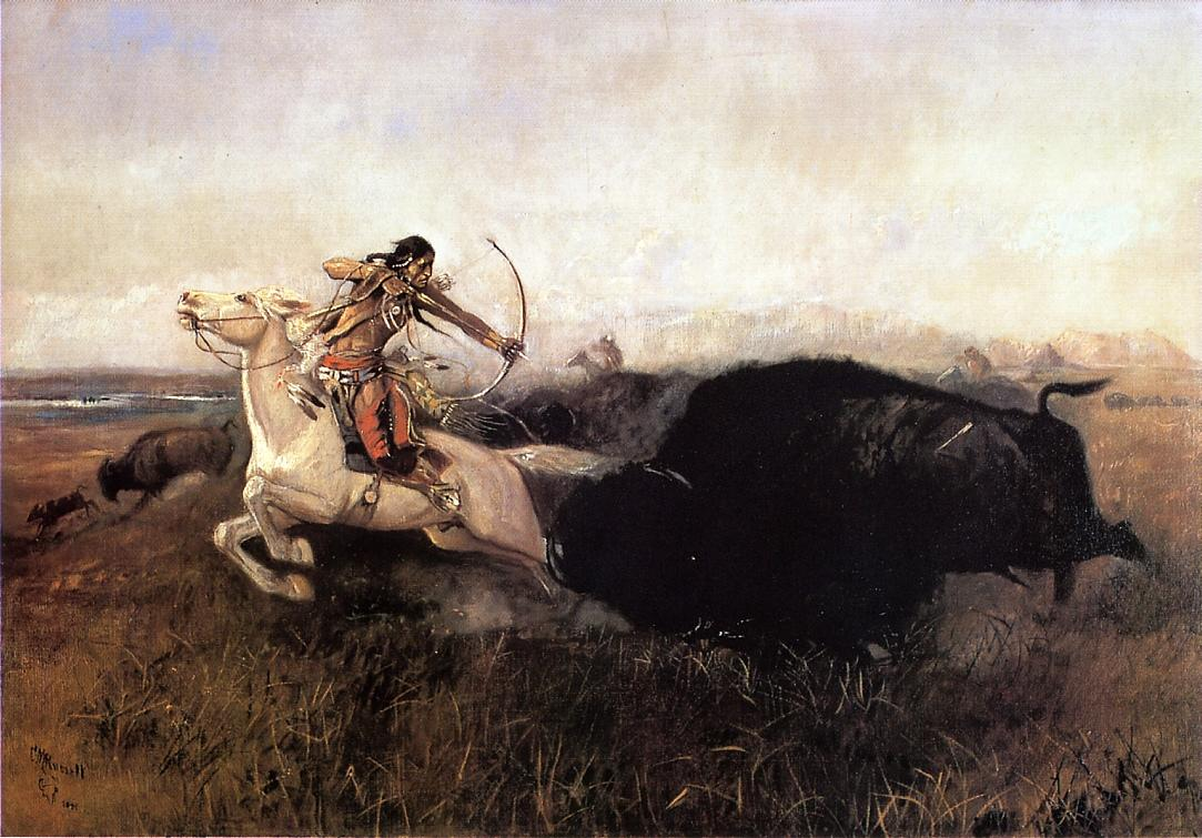 Indians Hunting Buffalo 1894   Charles Marion Russell   Oil Painting