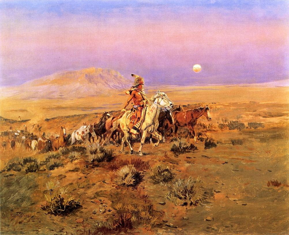 The Horse Thieves 1901   Charles Marion Russell   Oil Painting