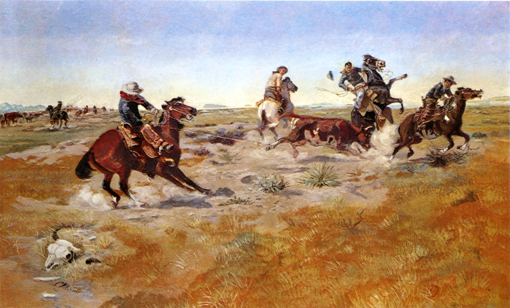 The Judith Basin Roundup 1889   Charles Marion Russell   Oil Painting