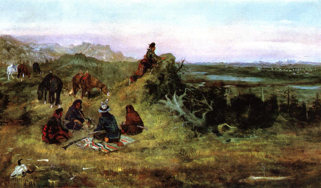 The Piegans Preparing to Steal Horses from the Crows 1888   Charles Marion Russell   Oil Painting