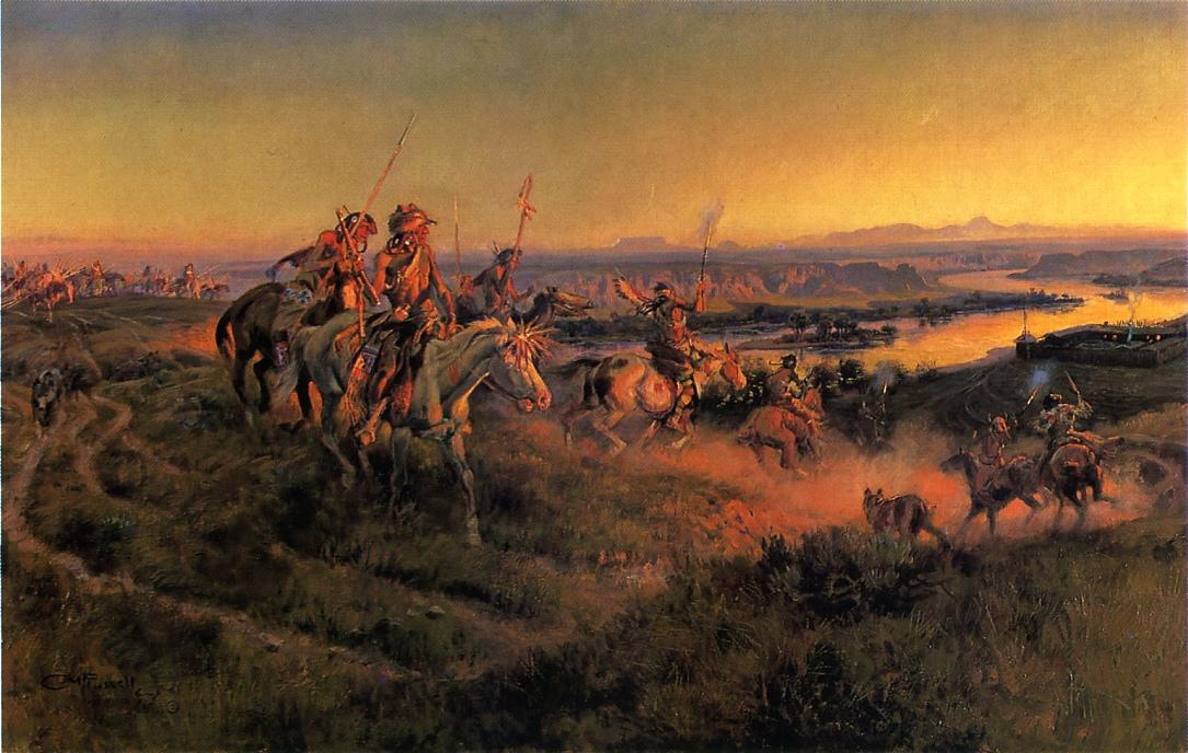 The Salute of the Robe Trade 1920 | Charles Marion Russell | Oil Painting