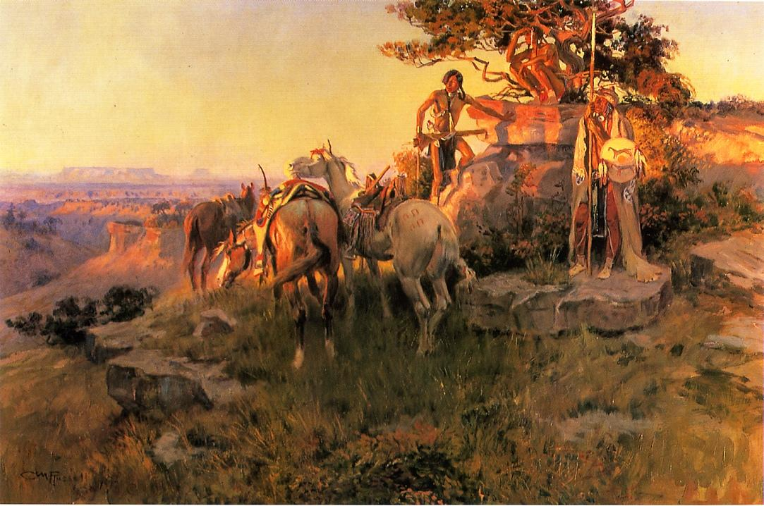 Watching for Wagons 1917 | Charles Marion Russell | Oil Painting