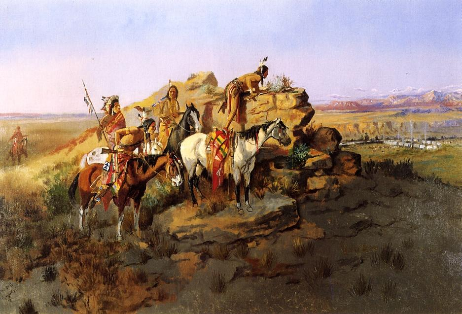 Watching the Settlers 1895 | Charles Marion Russell | Oil Painting