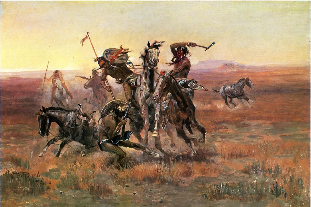 When Blackfeet and Sioux Meet 1908 | Charles Marion Russell | Oil Painting