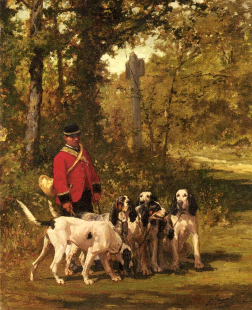A Huntmaster with his Dogs on a Forest Trail | Charles Olivier De Penne | Oil Painting