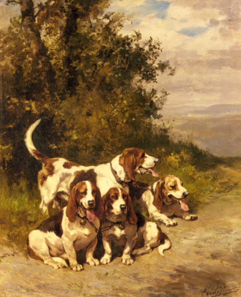 Hunting Dogs on a Forest Path | Charles Olivier De Penne | Oil Painting