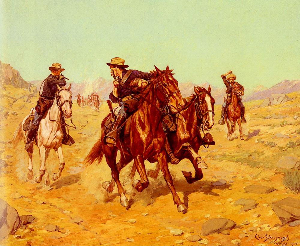 Saving Their Lieutenant | Charles Schreyvogel | Oil Painting