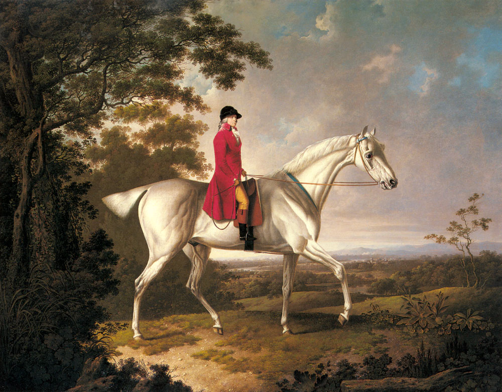 A Huntsman On A Grey Hunter In An Extensive Landscape | Charles Towne | Oil Painting