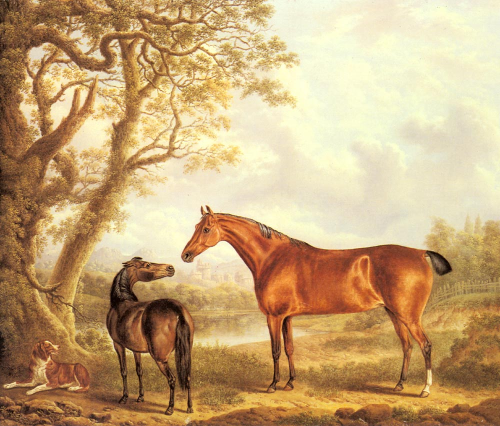 Hunters And A Spaniel In An Extensive Landscape | Charles Towne | Oil Painting