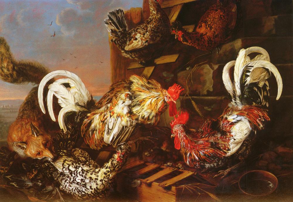 A Farmyard Scene With A Fox   Christian Luycks   Oil Painting