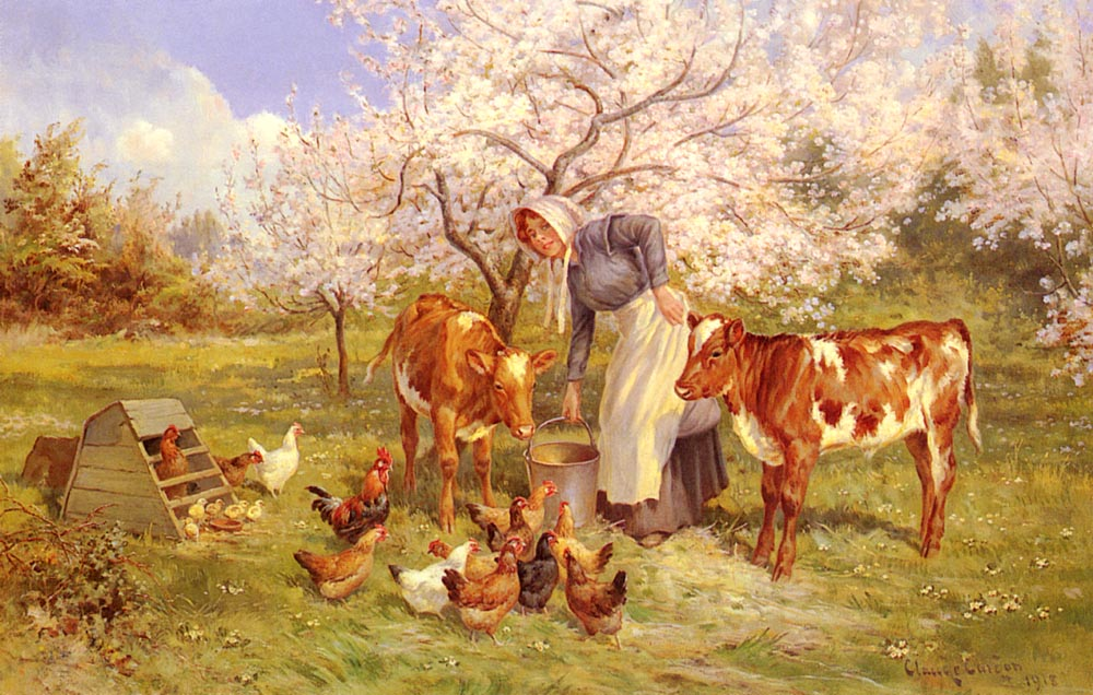 Feeding Time in the Orchard | Claude Cardon | Oil Painting