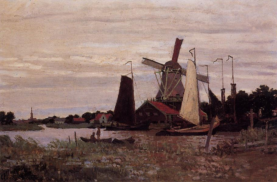 A Windmill at Zaandam 1871 | Claude Monet | Oil Painting