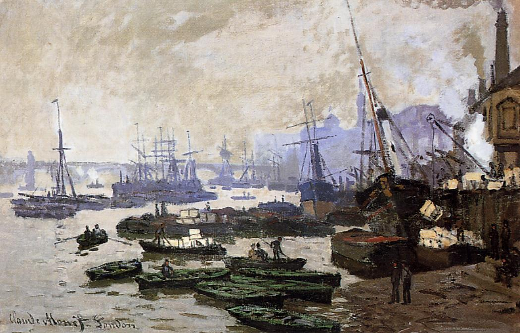 Boats in the Port of London 1871 | Claude Monet | Oil Painting