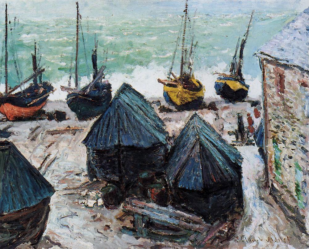 Boats on the Beach Etretat 1885 | Claude Monet | Oil Painting