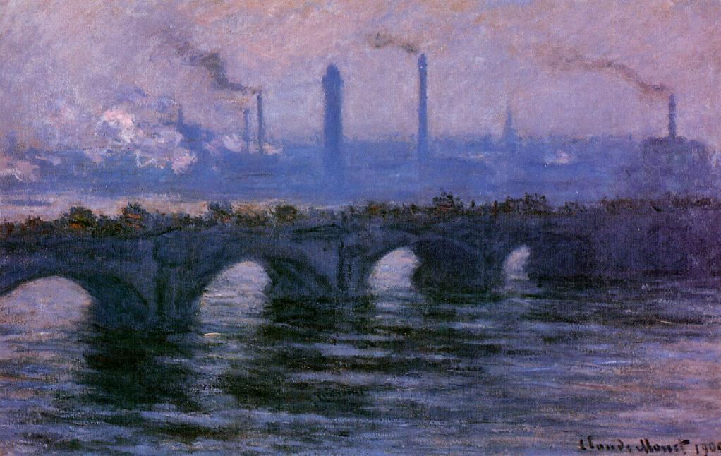 Waterloo Bridge Overcast Weather 1900 | Claude Monet | Oil Painting