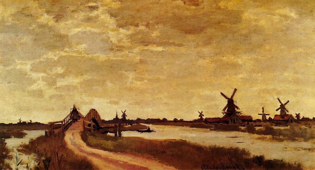 Windmills at Haaldersbroek Zaandam 1871 | Claude Monet | Oil Painting