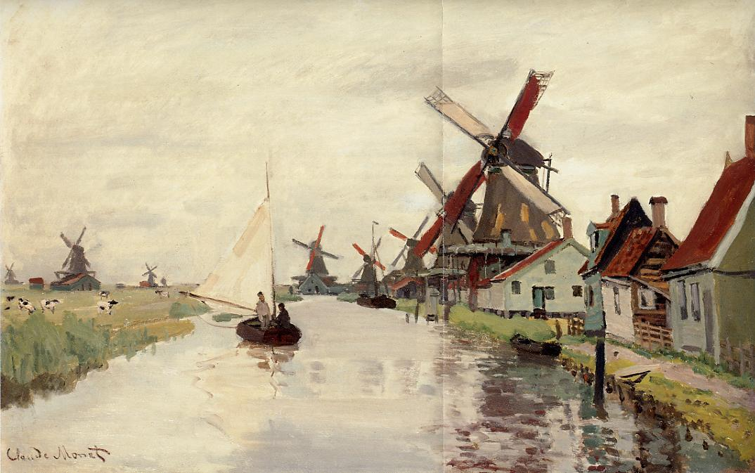 Windmills in Holland 1871 | Claude Monet | Oil Painting
