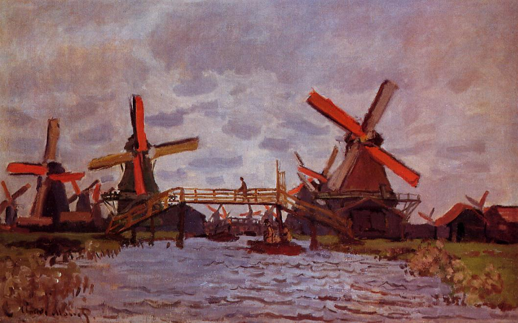 Windmills near Zaandam 1871 | Claude Monet | Oil Painting