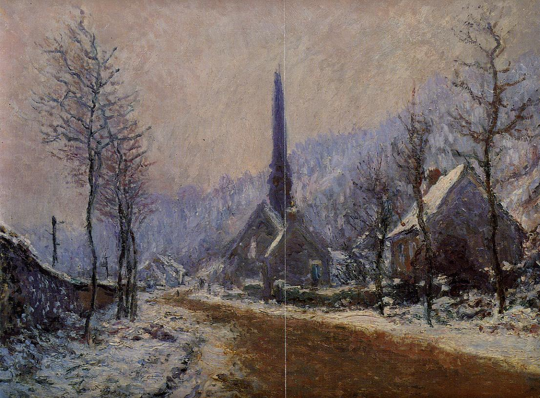 Church at Jeufosse Snowy Weather 1893   Claude Monet   Oil Painting