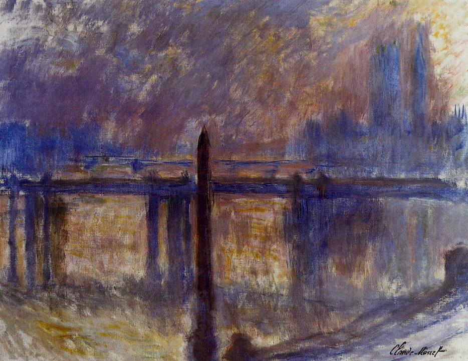 Cleopatras Needle and Charing Cross Bridge 1899-1901   Claude Monet   Oil Painting