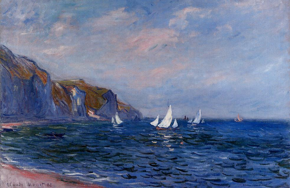 Cliffs and Sailboats at POurville 1882   Claude Monet   Oil Painting