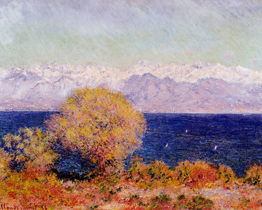 View of the Bay and Maritime Alps at Antibes 1888   Claude Monet   Oil Painting