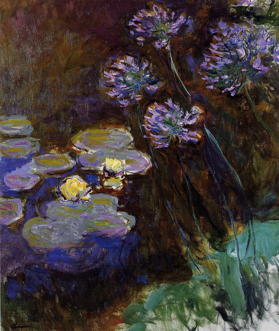 Water-Lilies and Agapanthus 1914-1917 | Claude Monet | Oil Painting