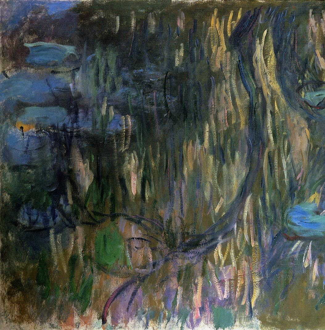 Water-Lilies Reflections of Weeping Willows (left half) 1916-1919 | Claude Monet | Oil Painting