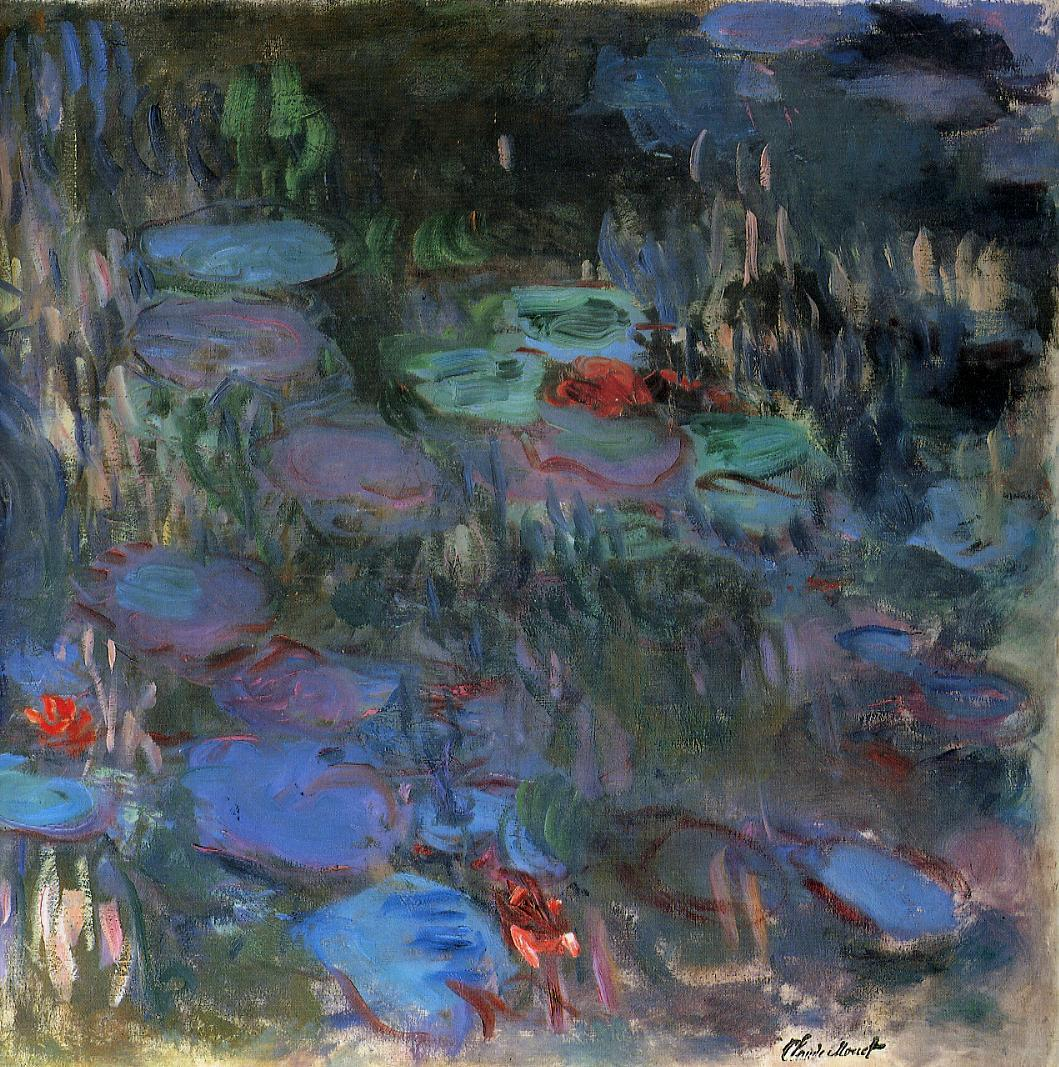 Water-Lilies Reflections of Weeping Willows (right half) 1916-1919 | Claude Monet | Oil Painting