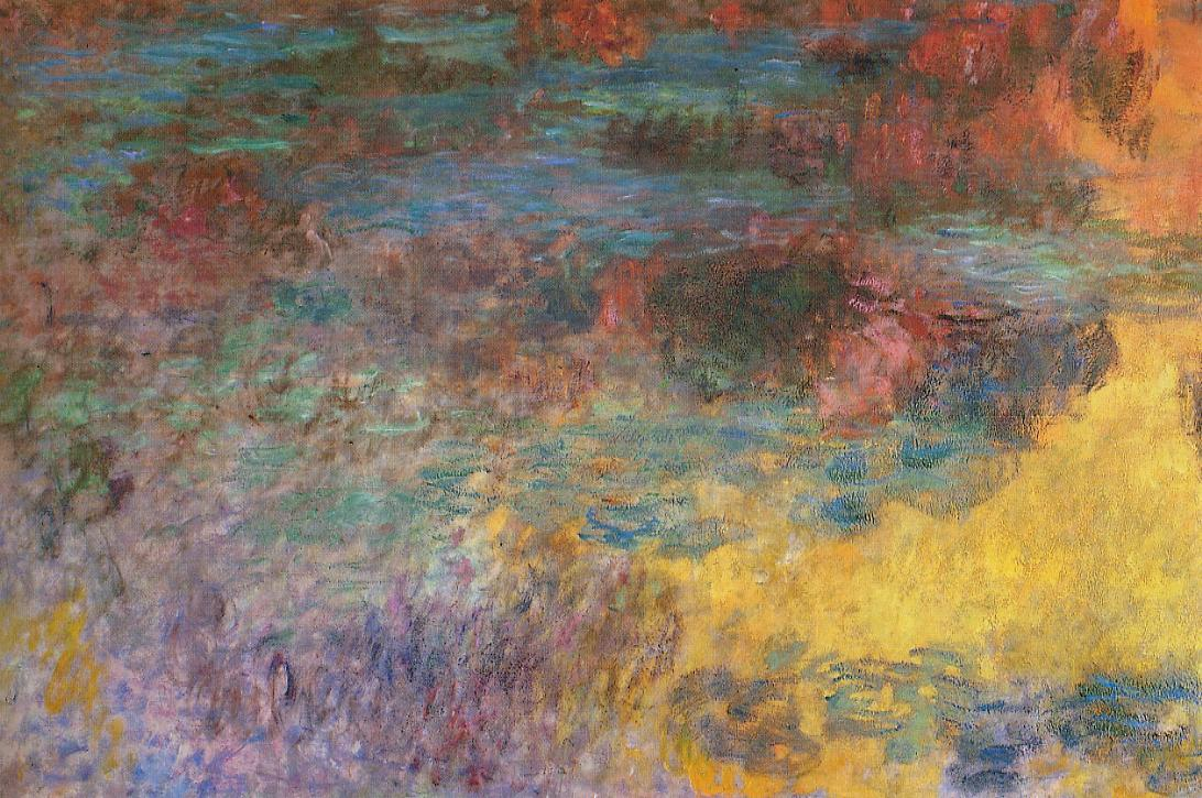 Water-Lily Pond Evening (left panel) 1920-1926 | Claude Monet | Oil Painting