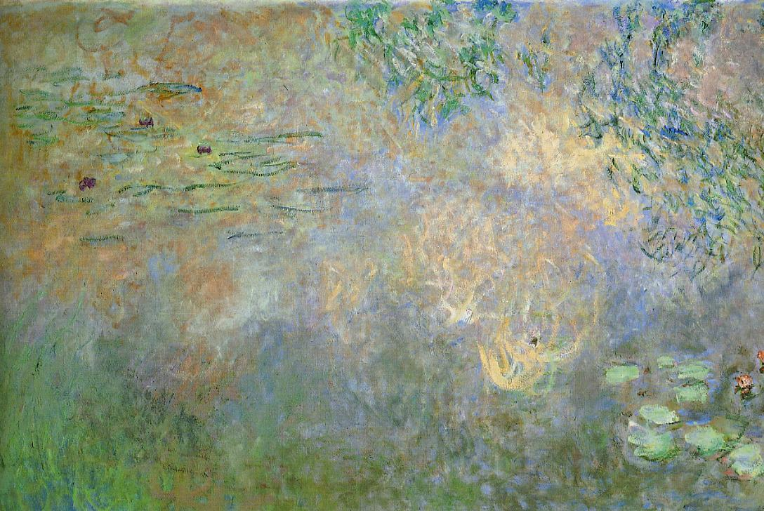 Water-Lily Pond with Irises (left half) 1920-1926 | Claude Monet | Oil Painting