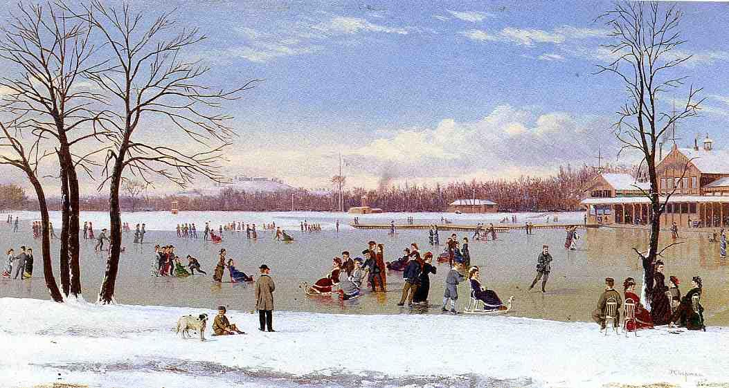 Skating in the Bois de Boulogne  1877 | Conrad Wise Chapman | Oil Painting