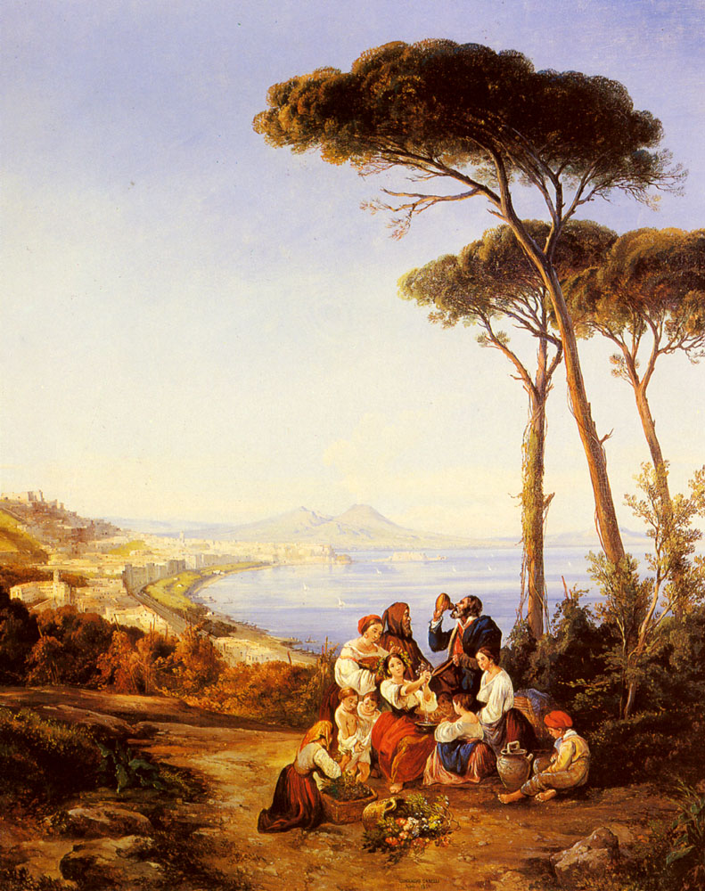 A Group Of Peasants With The Bay Naples Beyond | Consalvo Carelli | Oil Painting