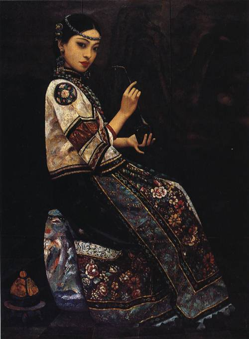 Girl With a Pipe | Li Feng Di | Oil Painting