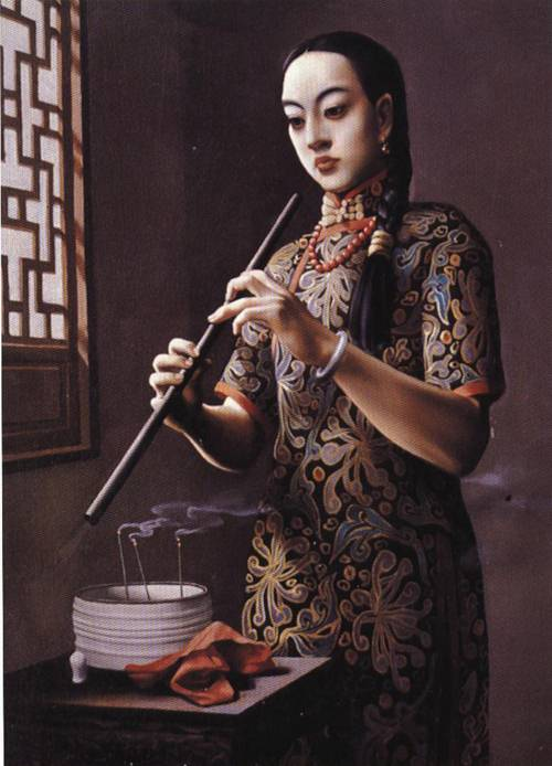 Girl with Flute | Biao Zhong | Oil Painting