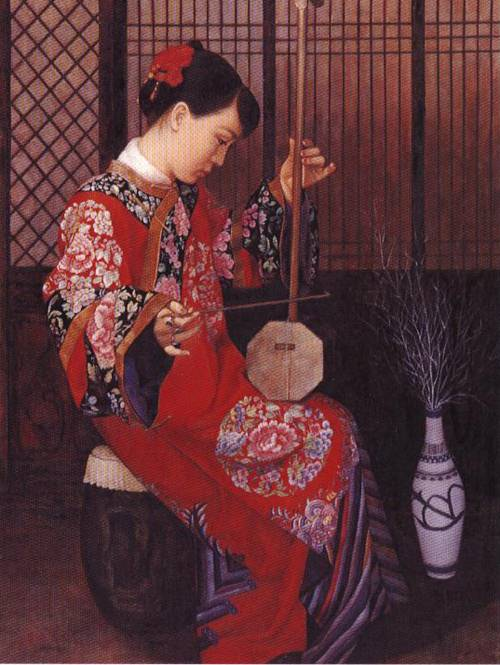 Girl with Stringed Instrument | Li Feng Di | Oil Painting