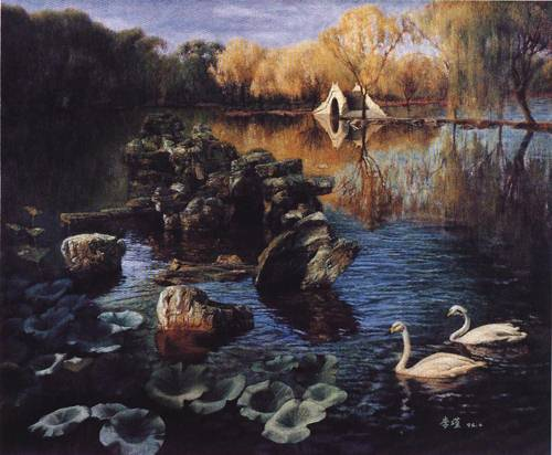 Two Swans on the Lake | Jin Li | Oil Painting