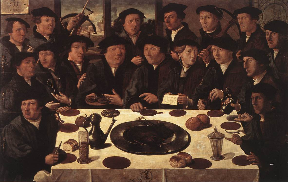 Banquet Of Members Of Amsterdams Crossbow Civic Guard 1533 | Cornelis Anthonisz | Oil Painting