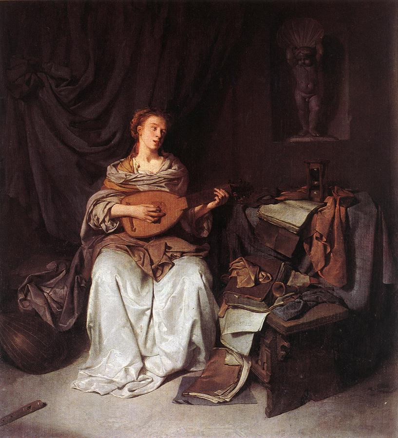 Woman Playing A Lute 1664-65 | Cornelis Bega | Oil Painting