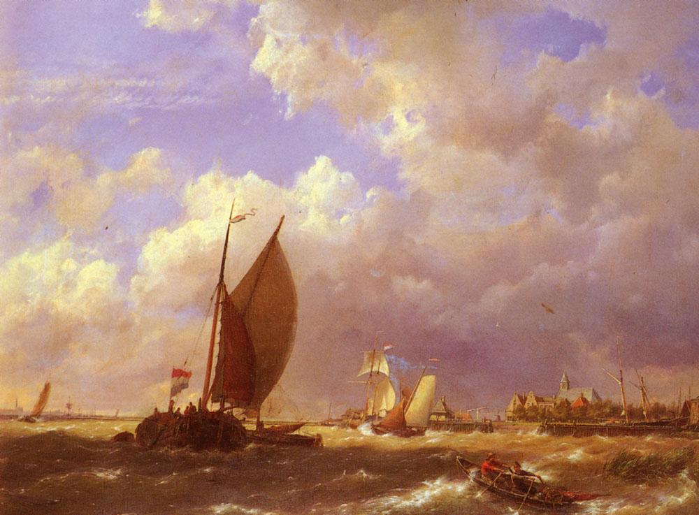 A Sunlit Dock   Cornelis Christiaan Dommelshuizen   Oil Painting